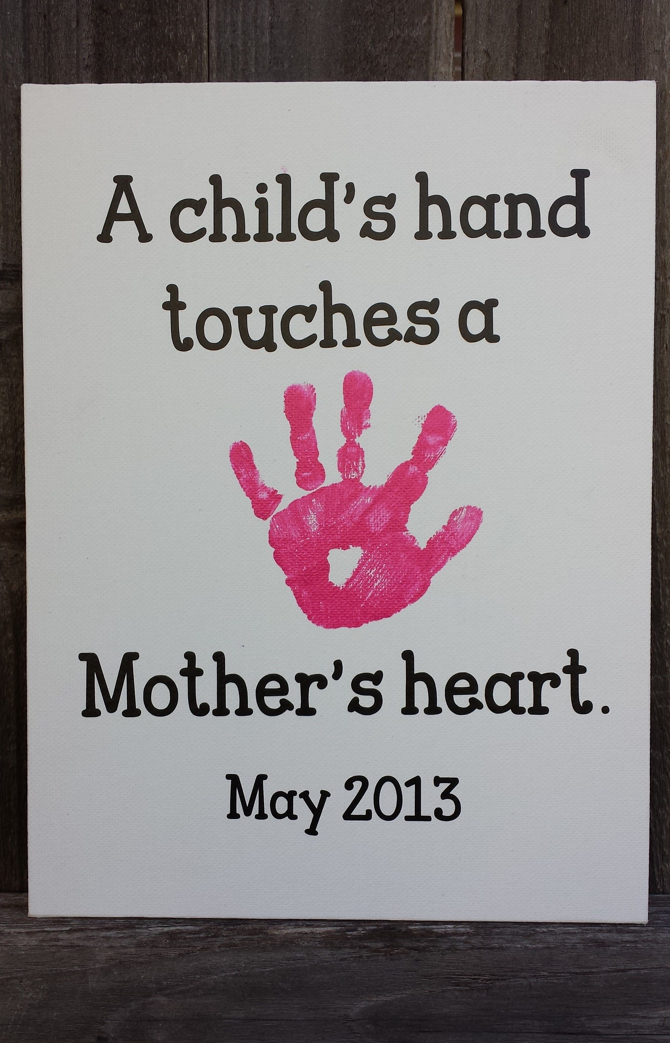 Mother S Day 2013 Emma S Handprint On A Canvas With Vinyl