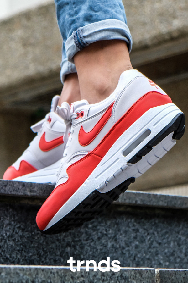 Nike Air Max 1 Vast GreyHabanero Red for Women. Air Max 1