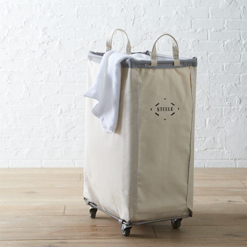 Steele Vertical Canvas Laundry Bin Reviews Crate And Barrel