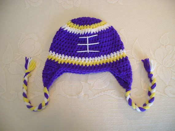 aa26f2785 Minnesota Vikings Inspired Crocheted Hat Available by BusterBrowns ...