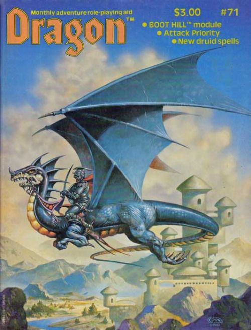 A dragon rider patrols the realm. (Clyde Caldwell's cover of Dragon Magazine No. 71, TSR, March 1983.)