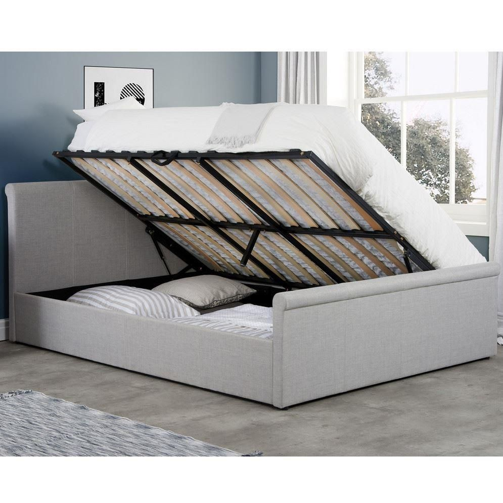 Stratus Grey Fabric Ottoman Storage Bed Frame 4ft Small Double