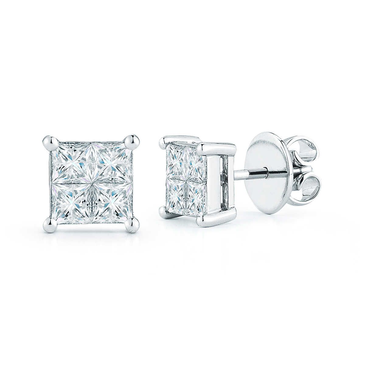 earring square earrings diamond product raton invisible gold cut boca white set princess