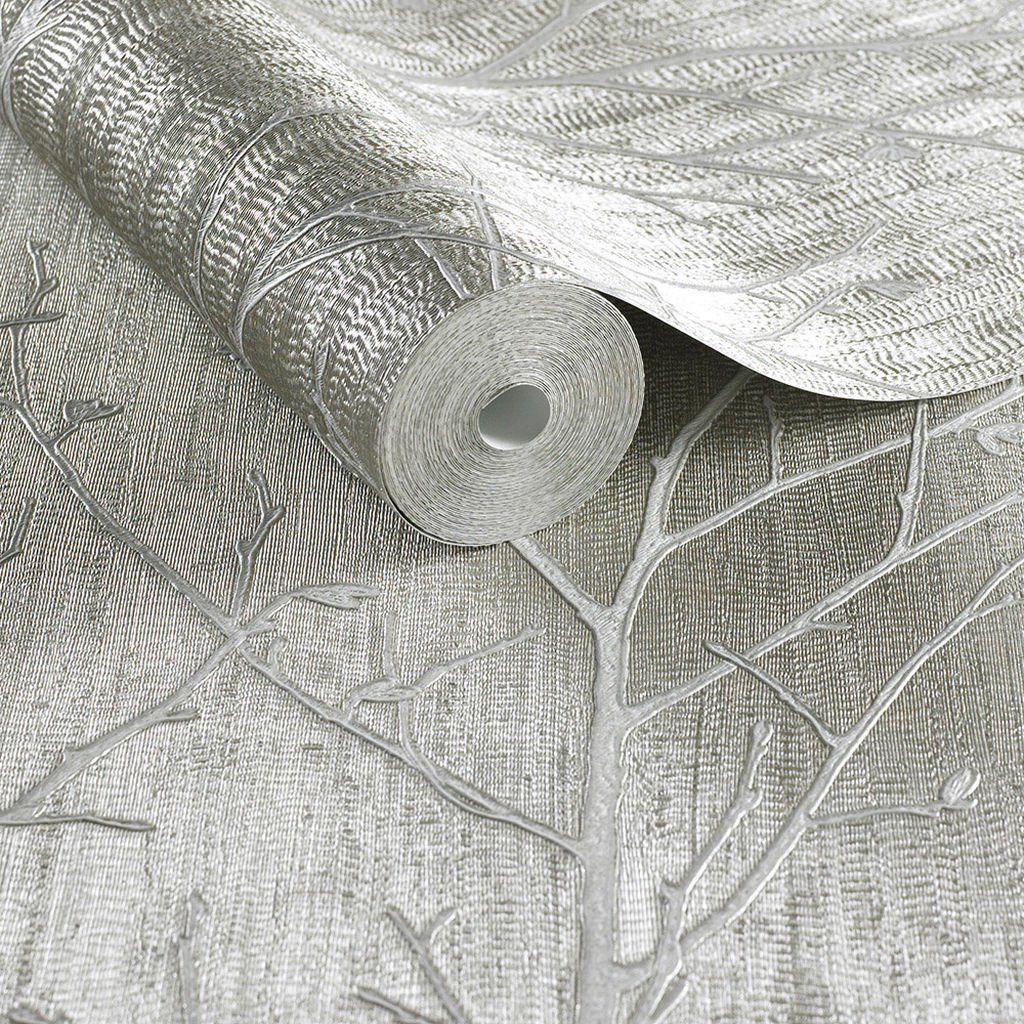 Water Silk Sprig Taupe Wallpaper Beige Wallpaper Boutique Beige Wallpaper Vinyl Wallpaper Wallpaper