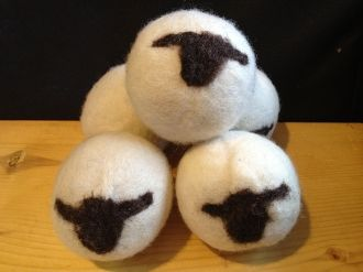 Wool Dryer Balls made with wool from our corriedale sheep, Wool dryer balls work by decreasing drying time and static cling. These are truly a chemical free renewable resource. Visit our website to order.