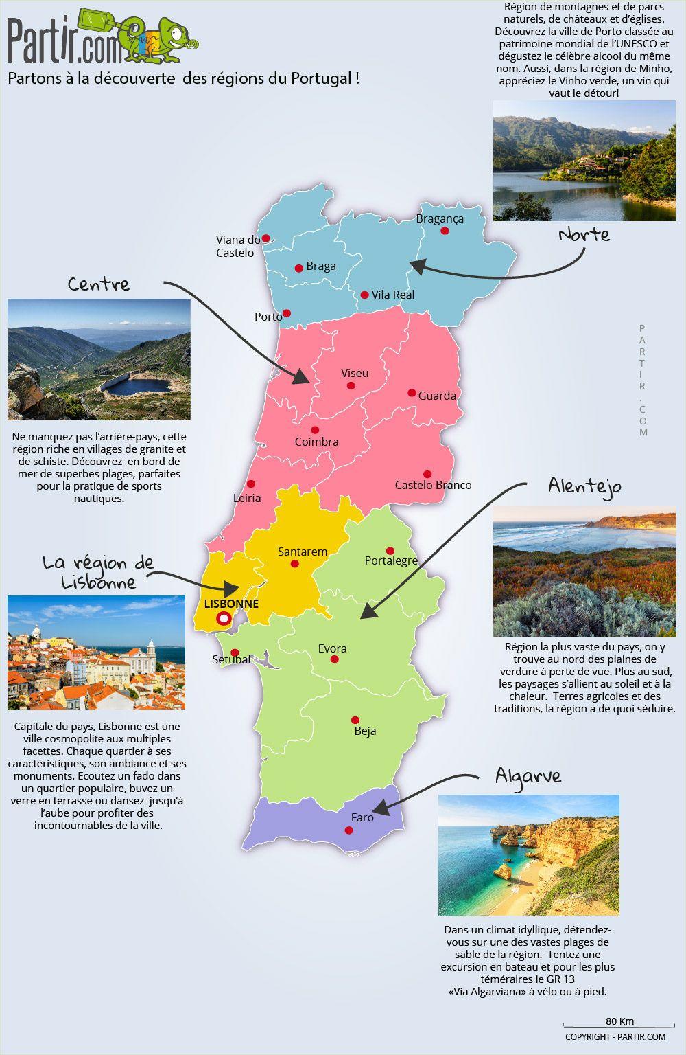 Carte Des Regions Portugal Voyage Portugal Carte Portugal Et