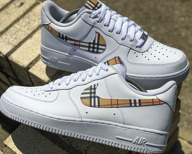 Burberry Air Force 1 Custom in 2020 Nike shoes air force