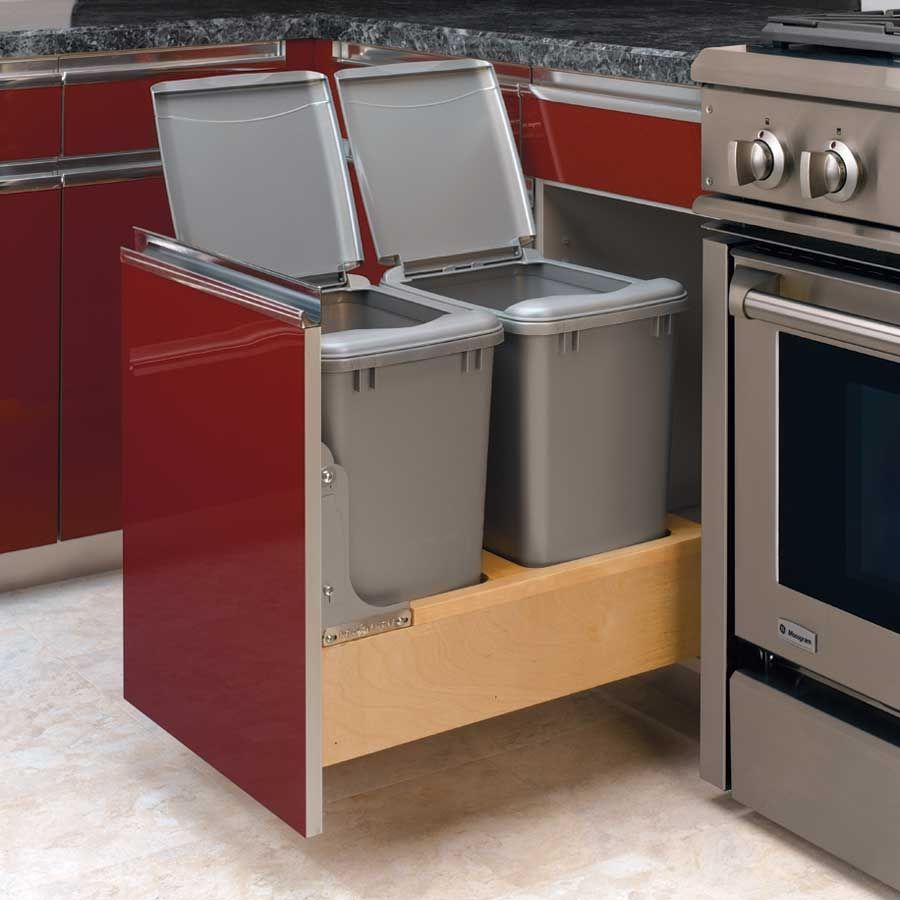 Trash bins for kitchen 100 kitchen cabinet trash 100 kitchen cabinet trash can kit 100 slide - Small pull out trash can ...