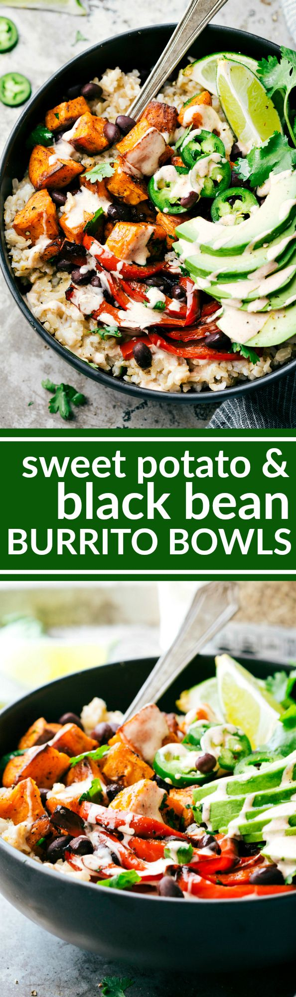 SWEET POTATO BURRITO BOWLS! A delicious and simple to make veggie black bean burrito bowls -- brown rice, seasoned & roasted sweet potatoes + bell peppers, black beans, and avocado with the most incredible chipotle lime sauce.