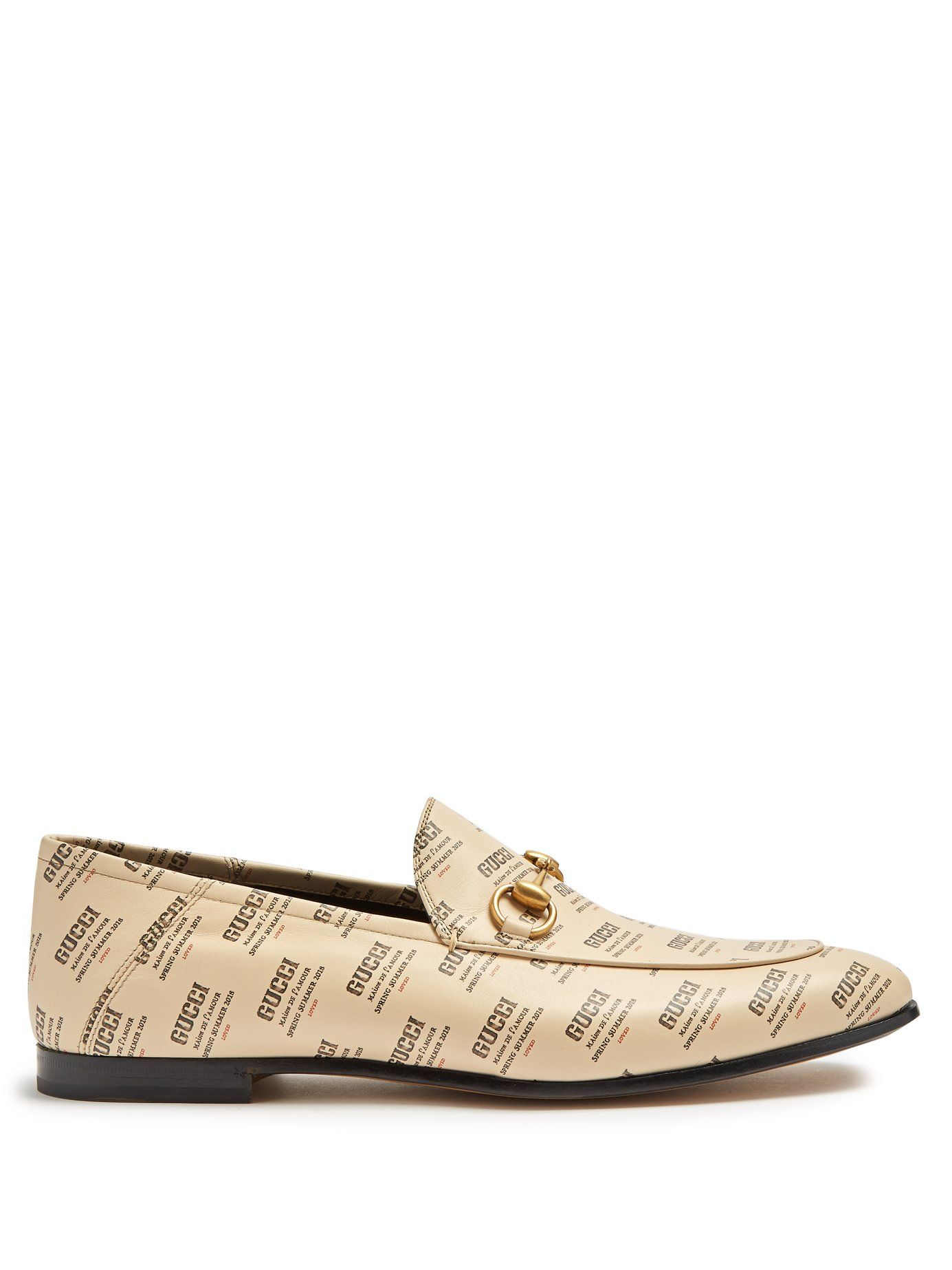 Gucci BRIXTON LOGO PRINTED LEATHER LOAFERS 6eZzVss