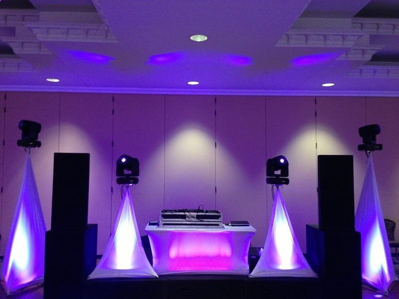 Take A Look At Our Dj Stage Setup For The Wedding Jbl Srx Series Speakers For Audio And Martin Mac 250 Lights For The D Wedding Dj Setup Dj Booth Dj Equipment