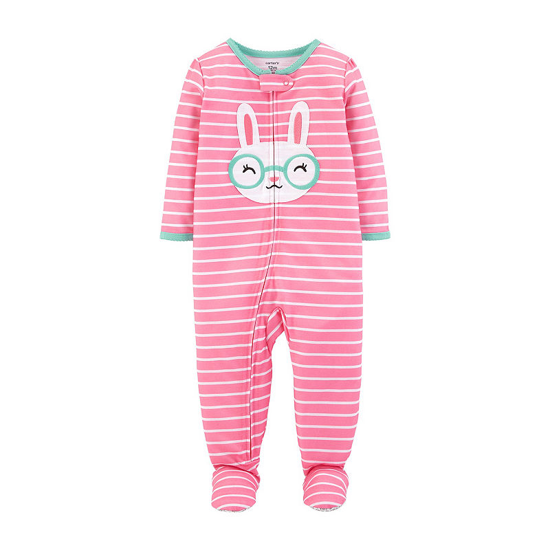 f1bc0e5db Carter's Girls Knit One Piece Pajama Long Sleeve Round Neck ...