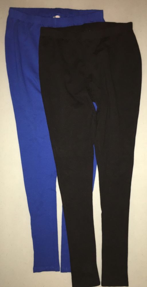 806fd411f1 Ladies Set of 2 Pair of Thin Knit Leggings, Black and Blue, Size XSmall  #Unbranded