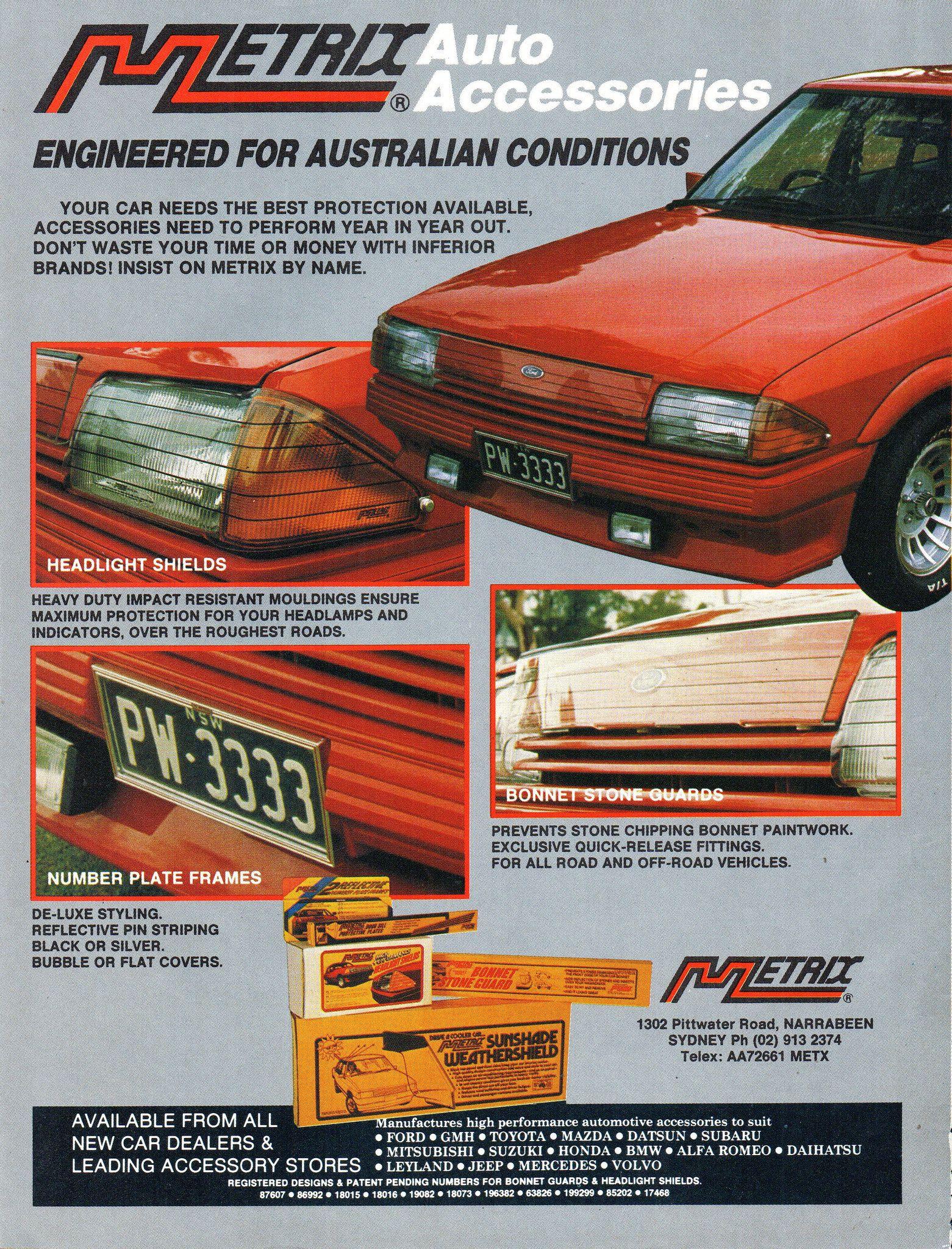 1985 Metrix Auto Accessories Xe Ford Falcon Headlight Bonnet