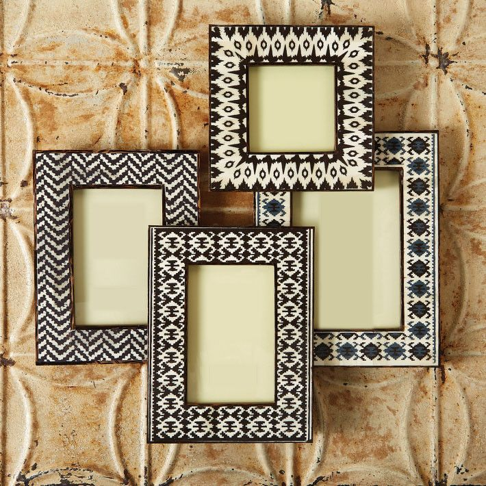 Twos Company Set Of 4 Brown Ikat Photo Frame 4 X 4 Two 4 X 6 5 X