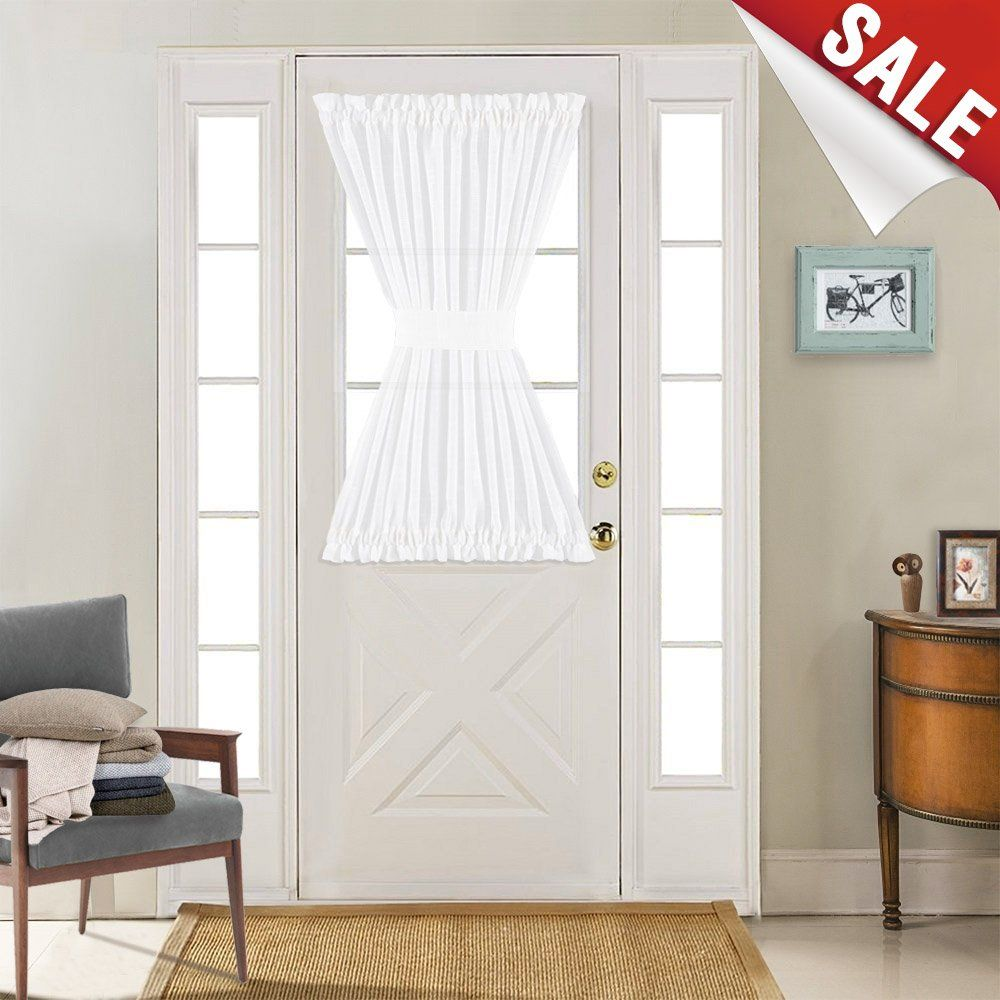 Linen Textured French Door Panel Curtains Open Weave White Sheer French Door Panels 40 Inch Length Single Front Doors With Windows Curtains Door Panel Curtains