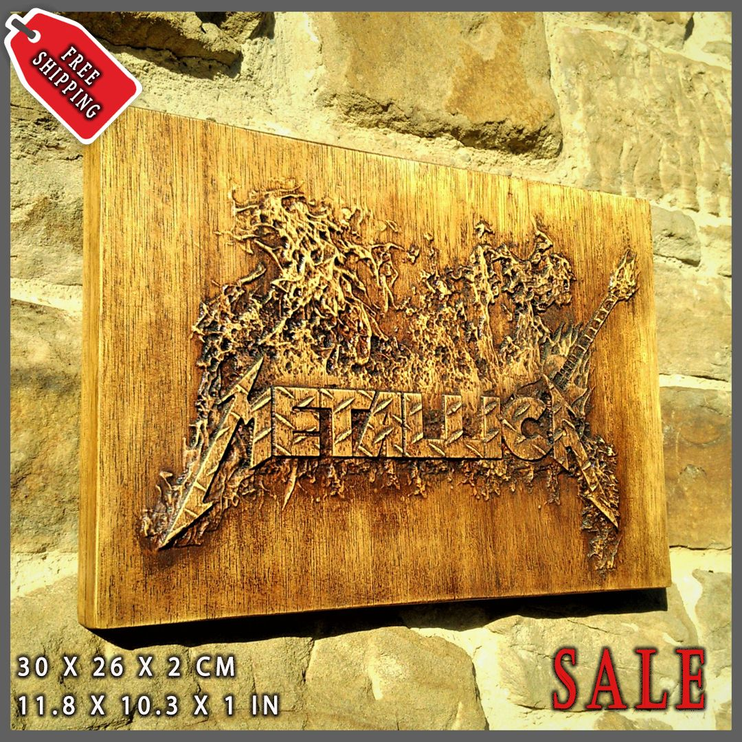 Metallica Wall Decor Music Fan Wood Art Carved Picture Plaques ...