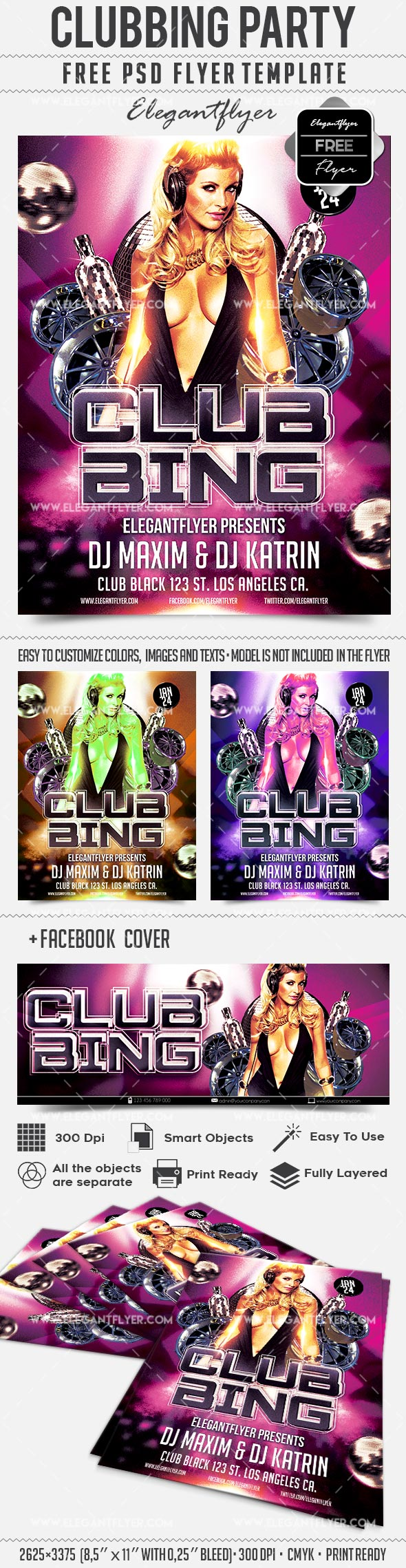 clubbing party free flyer psd template pinterest psd templates