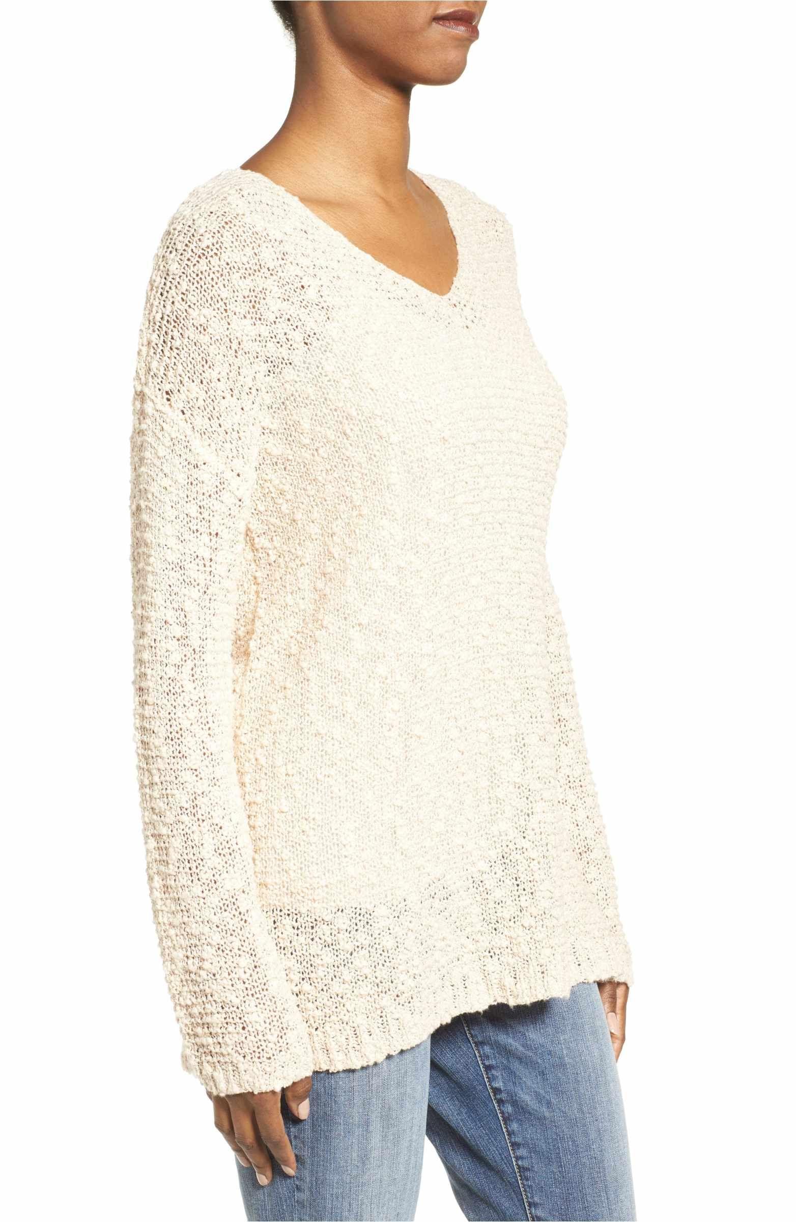 Main Image - Caslon® Open Stitch V-Neck Sweater (Regular & Petite ...