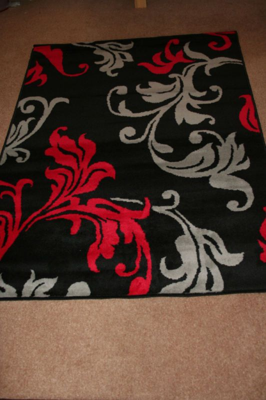 Modern Red Grey Black Damask Extra Large Rug