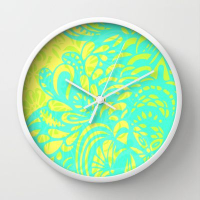 Amorph - lemon & lime Wall Clock by Cally Creates - $30.00. It's a little bit trippy, like a lava lamp. very fresh bright colours.