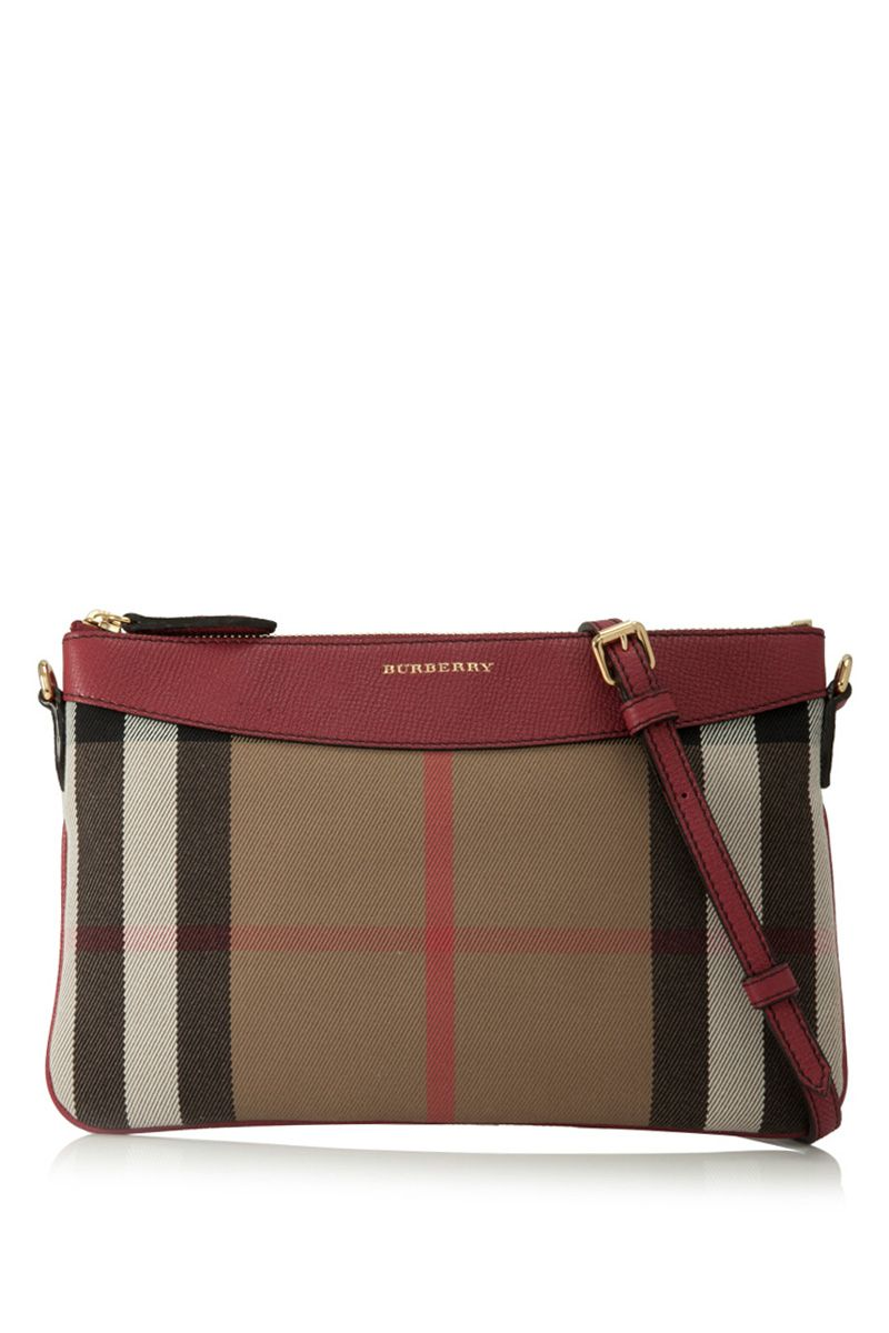 BURBERRY House Check And Leather Clutch Bag  1e31a30e47d9d