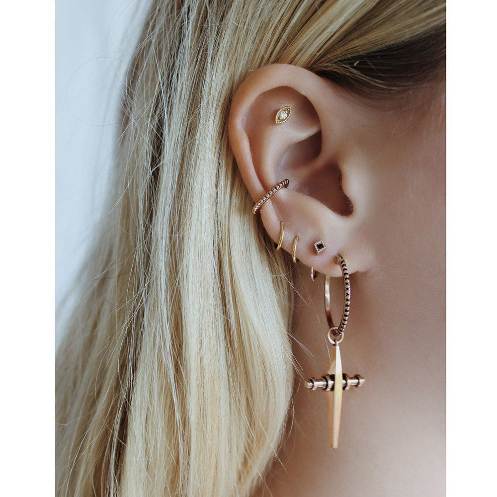 luv metallic jewelry aj jacket gallery normal silver in barbell earring product ear earrings lyst