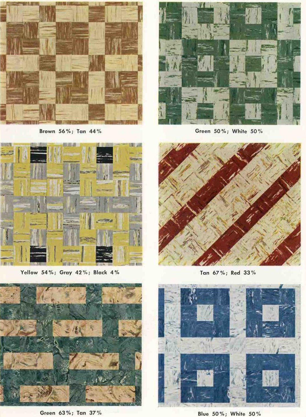 30 patterns for vinyl floor tiles from the 1950s