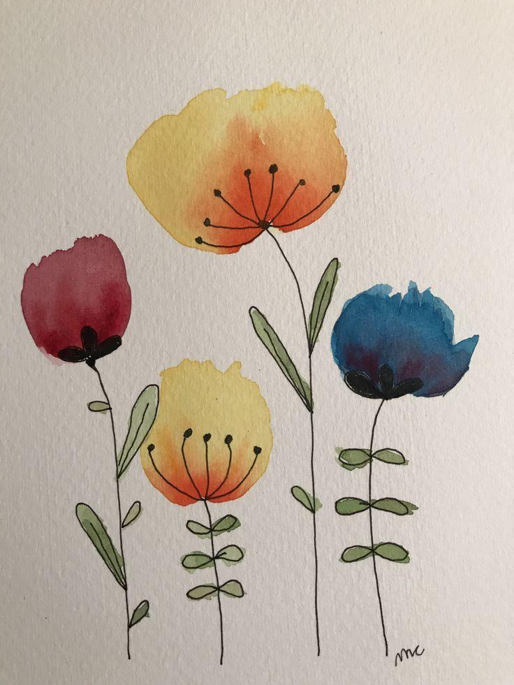 Blumen Malen In 2020 Aquarell Karte Blumen Malen Aquarellmalerei