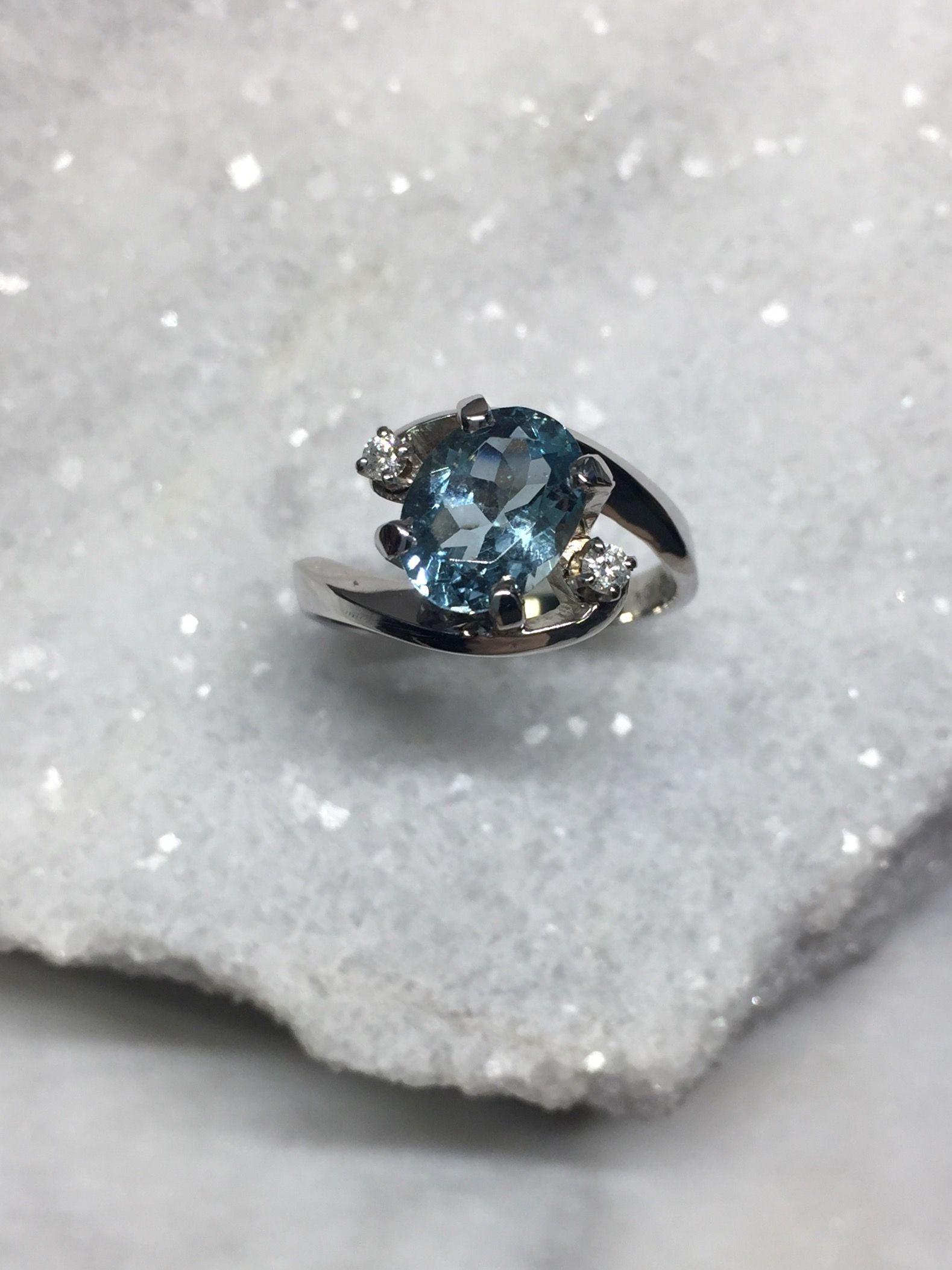 10k White Gold Aquamarine And Diamond Ring Rings White Gold Diamond