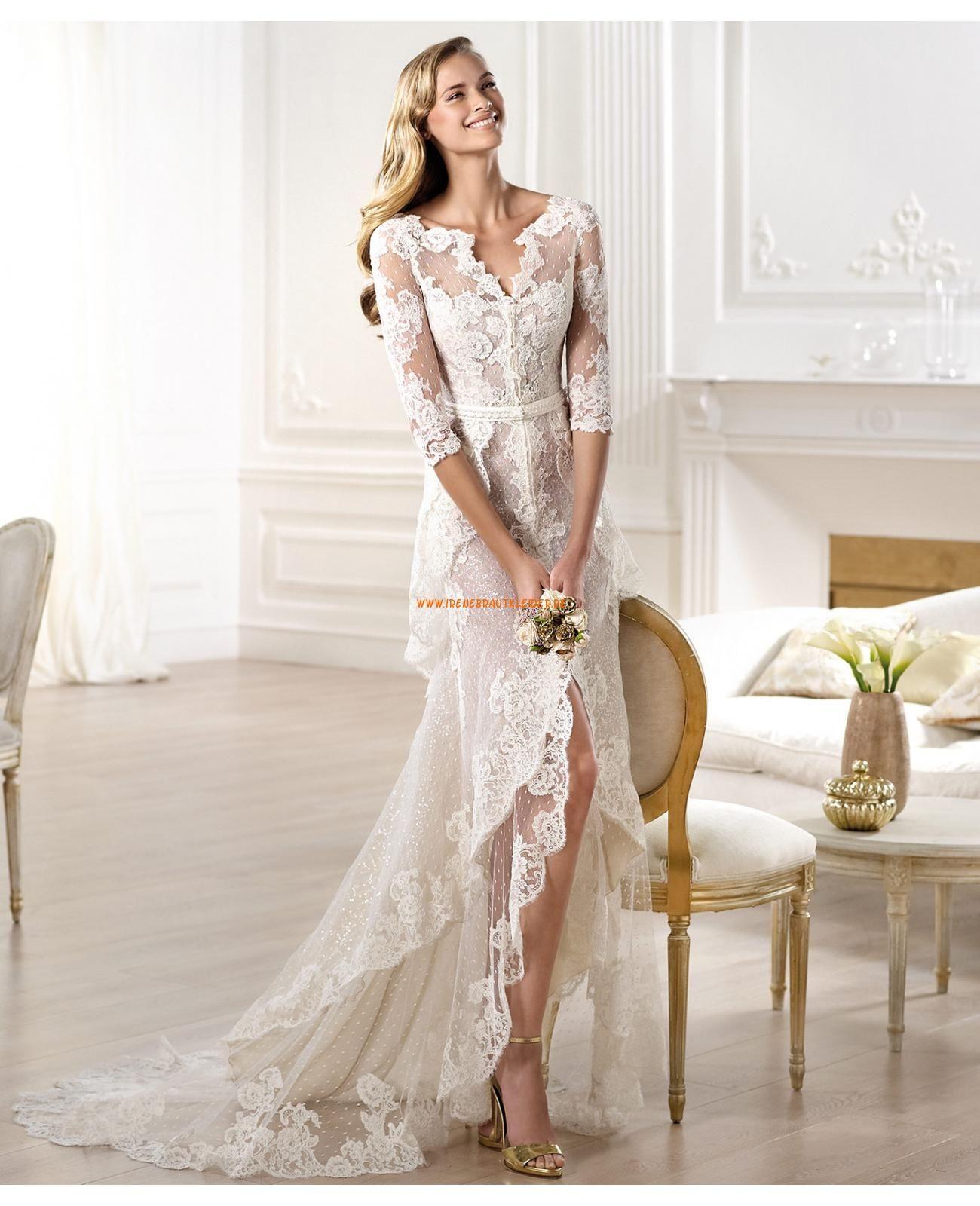 2014 Elegante Brautkleider aus Satin mit Spitze Ärmel V-Ausschnitt ...