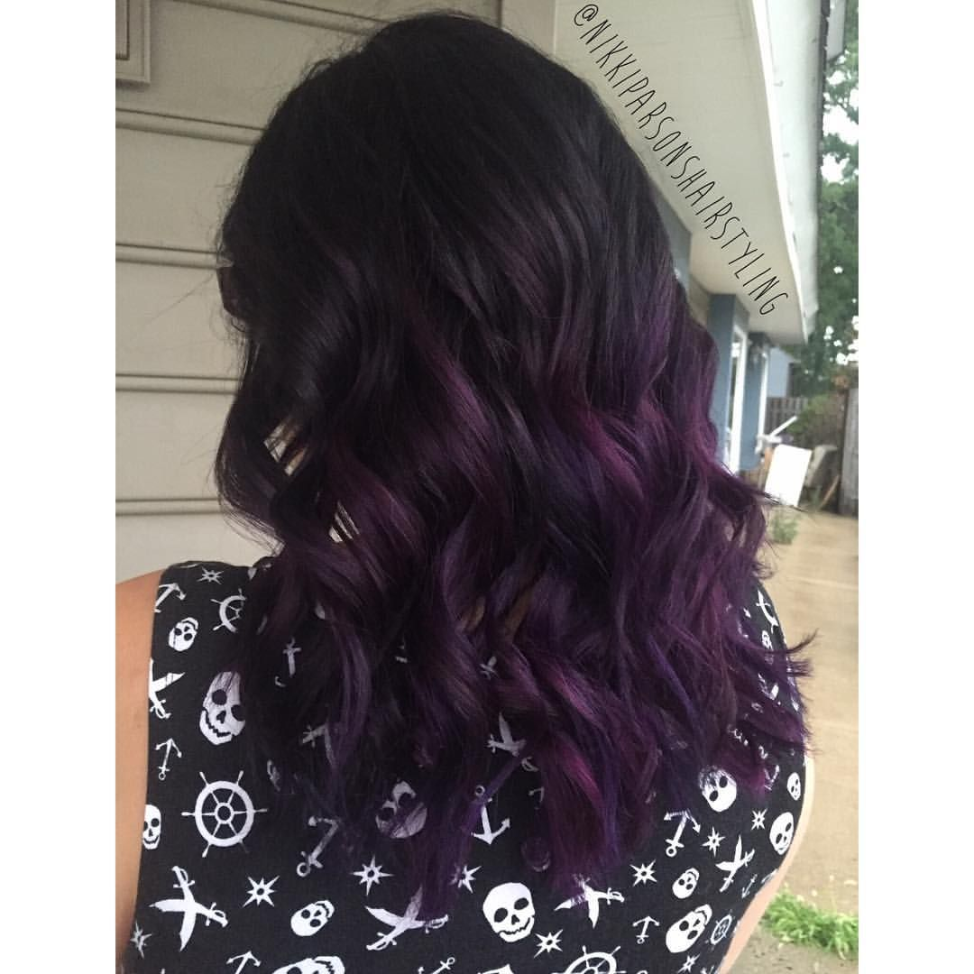 Picture of black and magenta balayage hair - Black To Purple Ombre Hair Using Redken Shades Eq Joico Color Intensity In Indigo And
