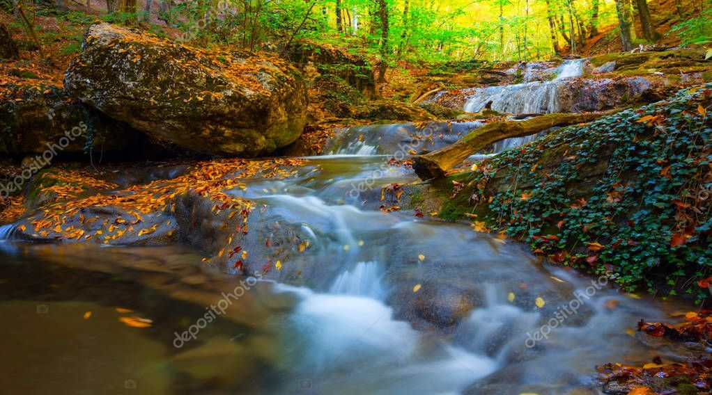 Beautiful River Rushing Stones Dry Leaves Autumn Natural Background Stock Pictur