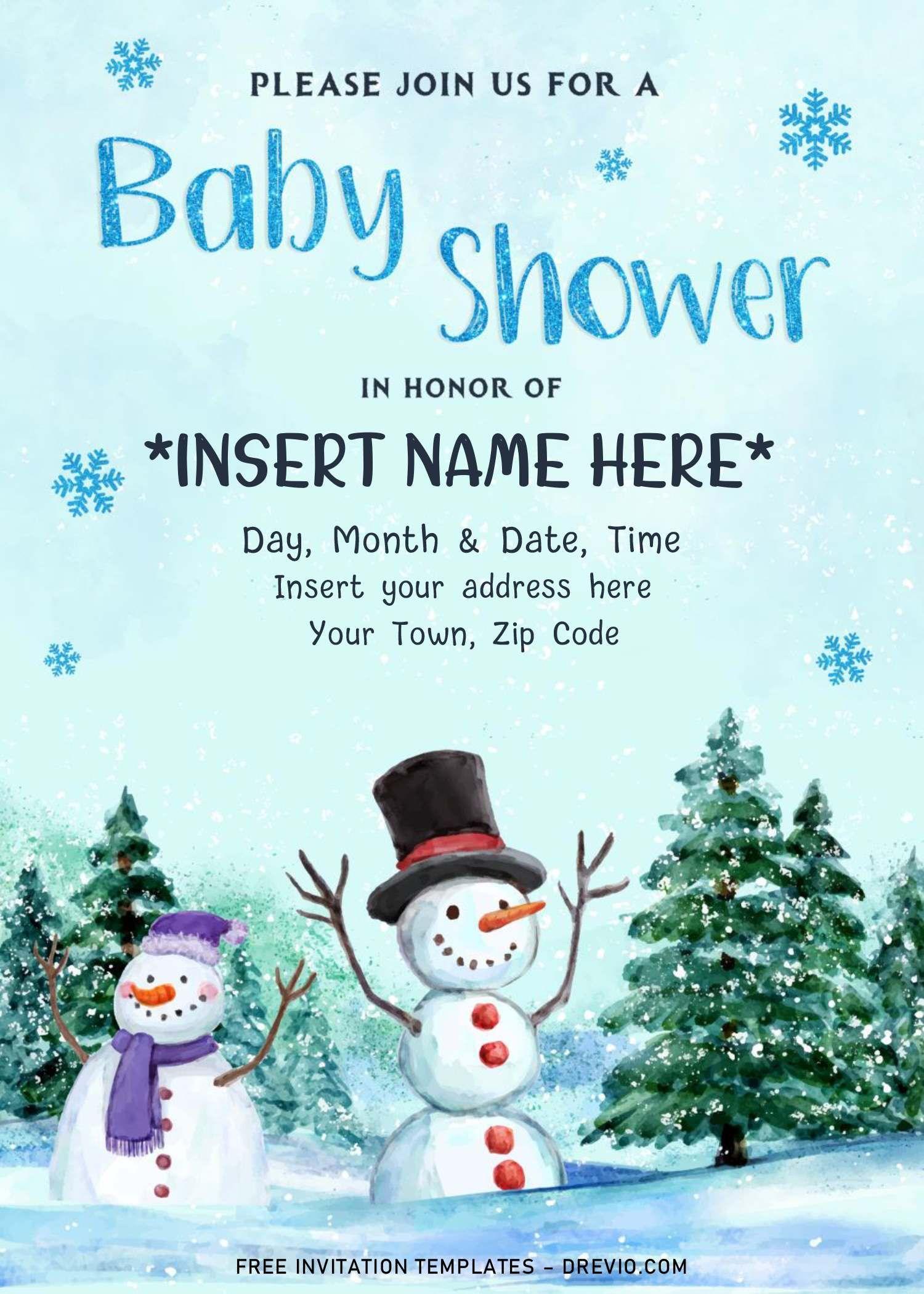 Free Winter Baby Shower Invitation Templates For Word Winter Baby Shower Invitations Baby Shower Winter Free Printable Birthday Invitations