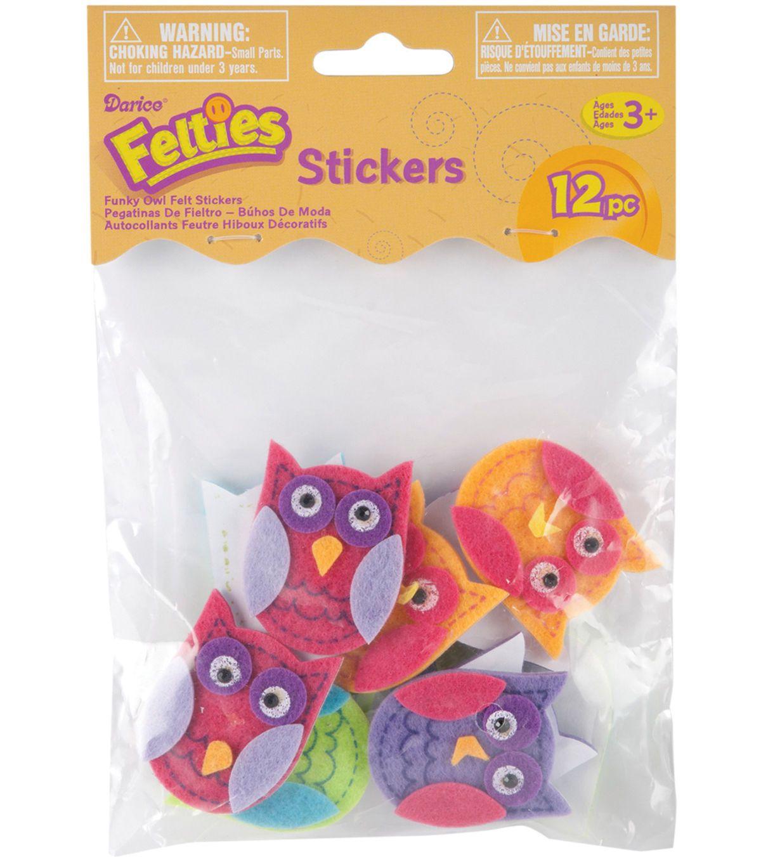 Darice Feltie Stickers 10//Pkg-Funky Owl