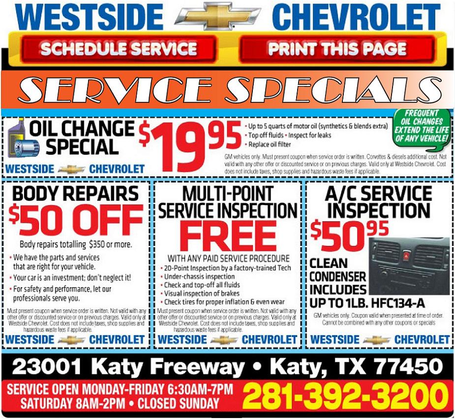 Chevrolet Service Special Chevrolet Service Special In Houston