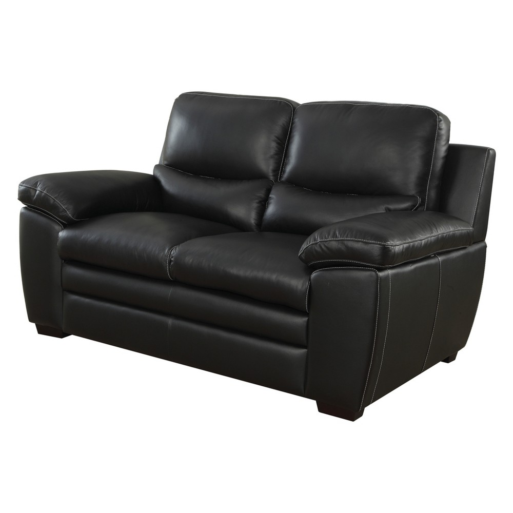 Superb Iohomes Bonelli Contemporary Leatherette Love Seat Black Gamerscity Chair Design For Home Gamerscityorg