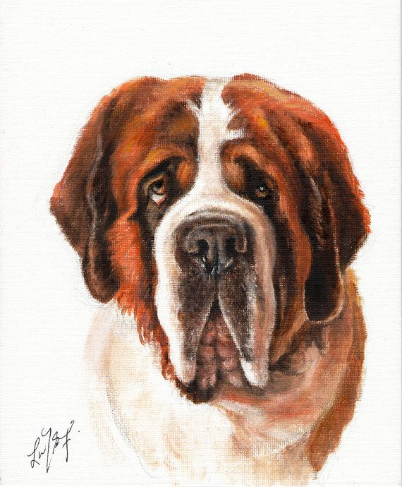 New Original Oil Art SAINT ST BERNARD Portrait by ninistores, $80.00