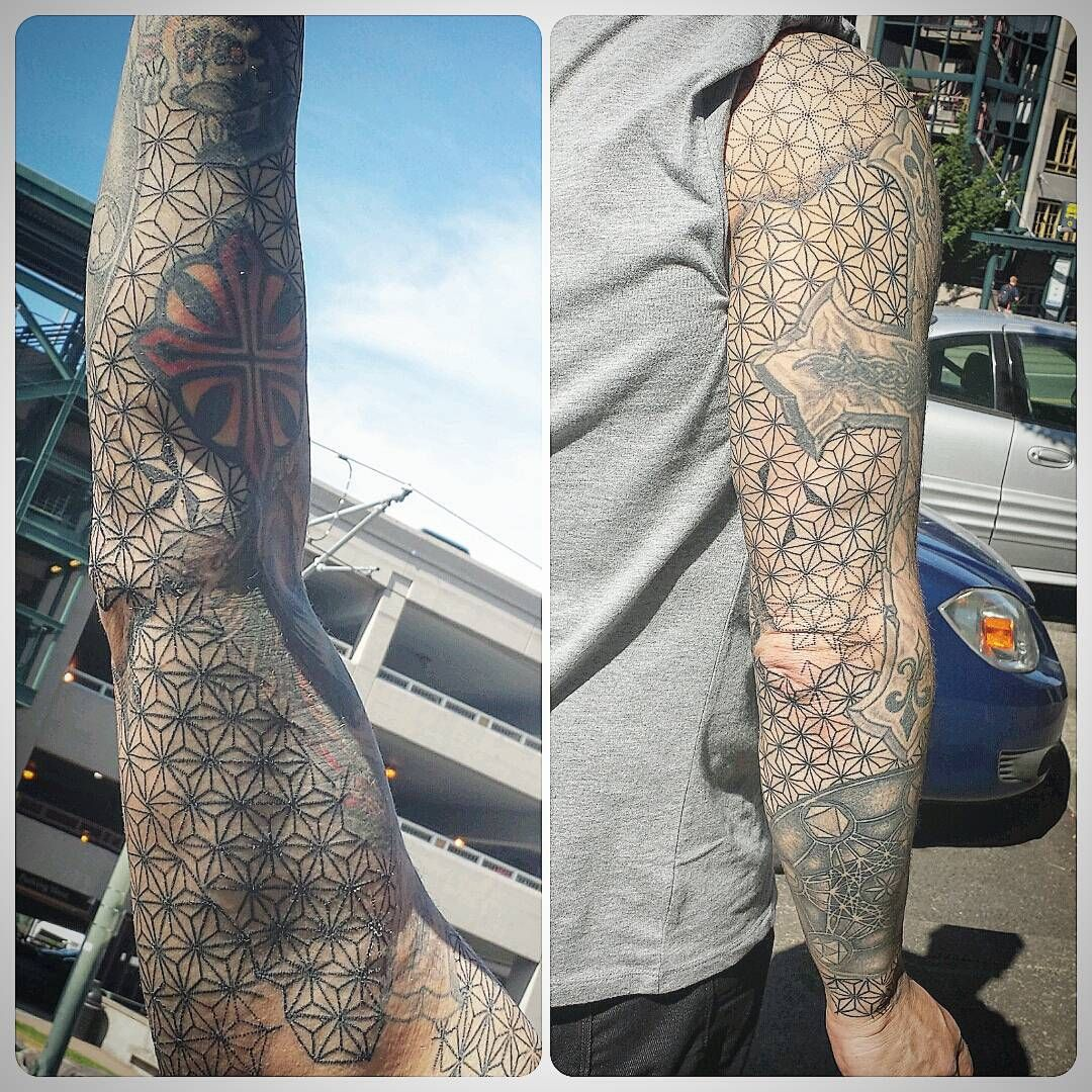 First session on the background of a sacred geometry sleeve