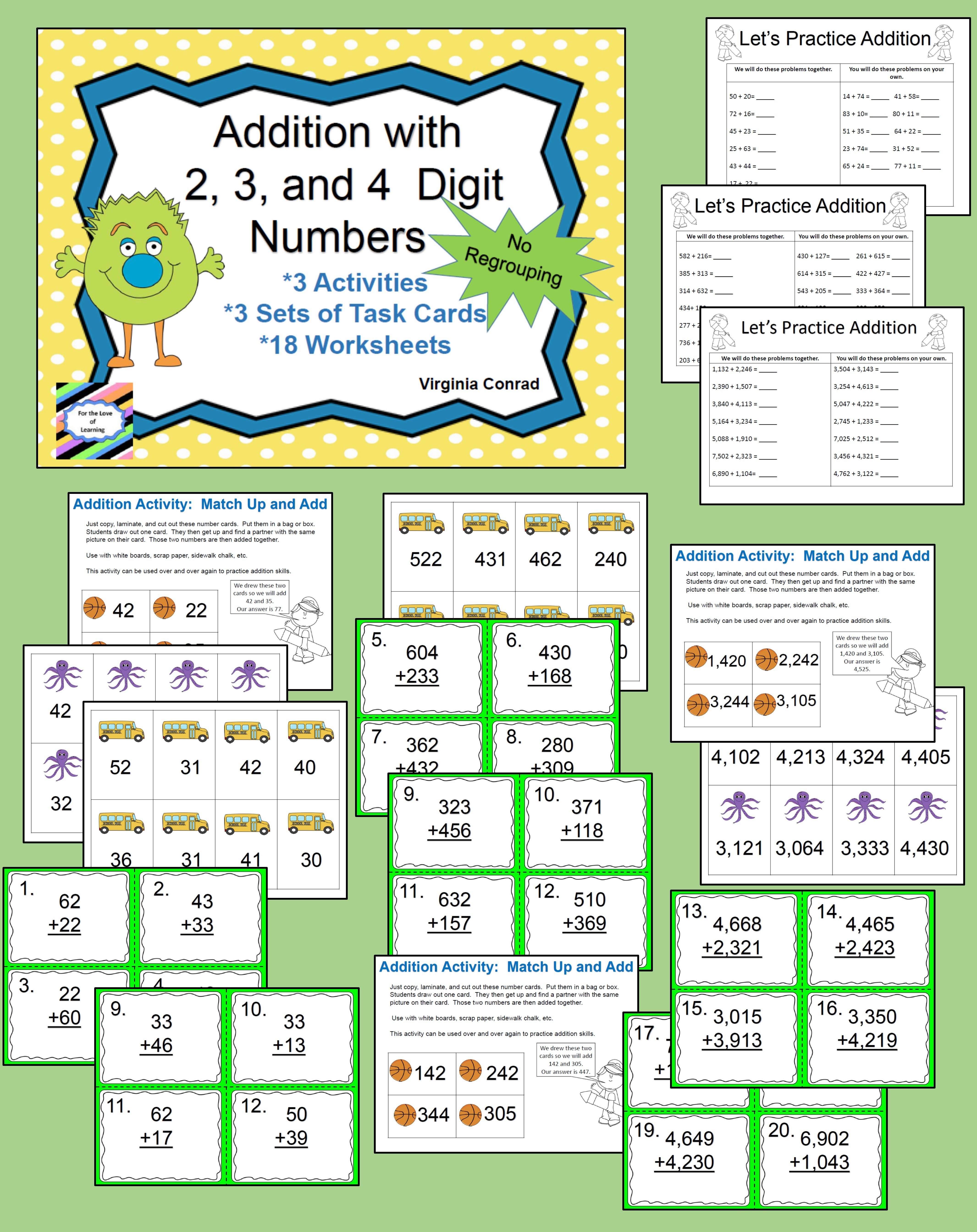 Adding 2 3 And 4 Digit Numbers Without Regrouping Love