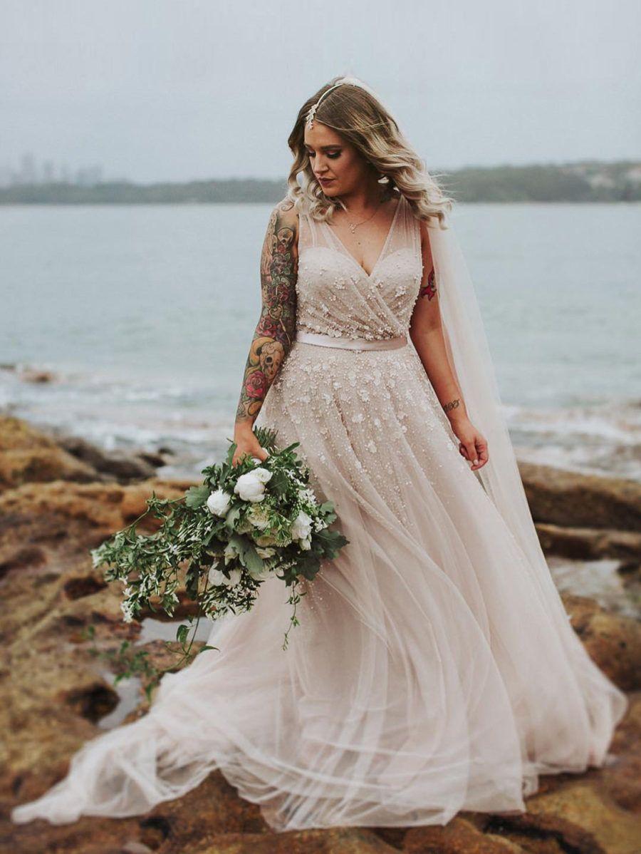 Maggie u grantus watsons bay wedding blush wedding dresses blush