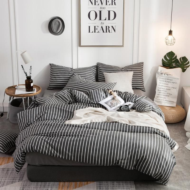 Brief 100 Cotton Grey Color Stripe Bedding Set Twin Queen King Single Size Soft Bed Set Bed Sheet Duvet Cover Pillowcases Full Bedding Sets White Bed Set Bed Comforter Sets