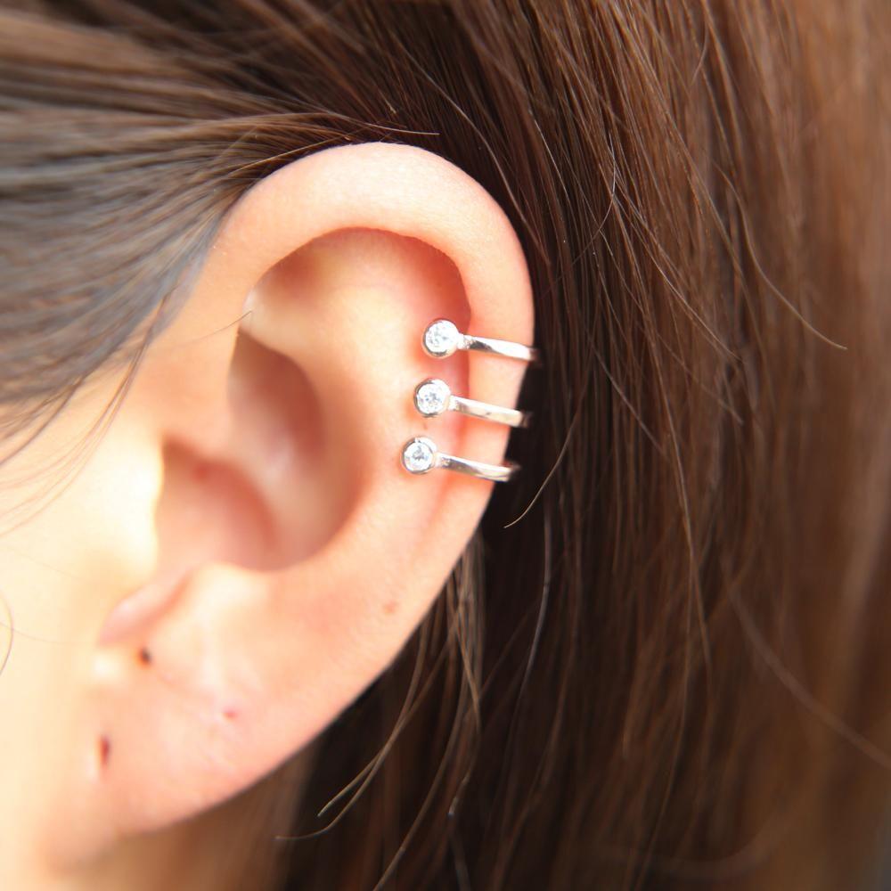 Industrial piercing bumps  Nikita Triple Crystal Ear Cuff Earring in   Piercings