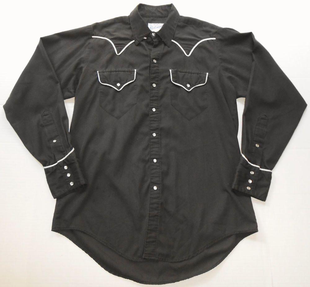 Vintage ROCKMOUNT Ranchwear Tru-West Black Pearl Snap Western Shirt 15 1/2 - M #Rockmount #Western