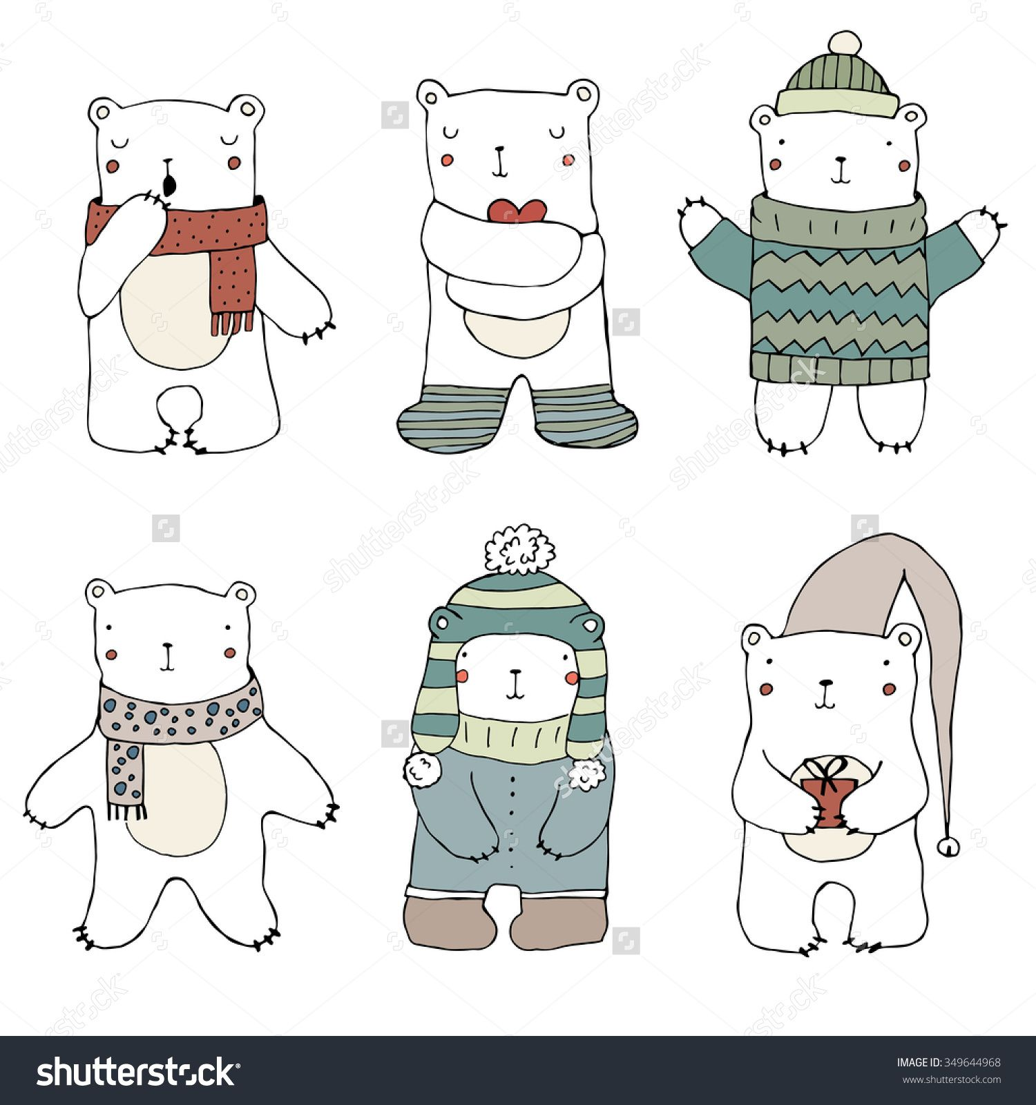 Set Of Cute Polar Bears On White Background. Hand Drawn Illustration. Vector. Isolated. Christmas Childish Pattern. Bears In Clothing - Hat, Sweater, Scarf, Cap. Cute Teddy Bear Collection. - 349644968 : Shutterstock