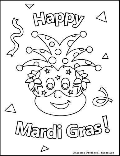 mardi gras for kids  Happy MardiGrasColoringPageForKids