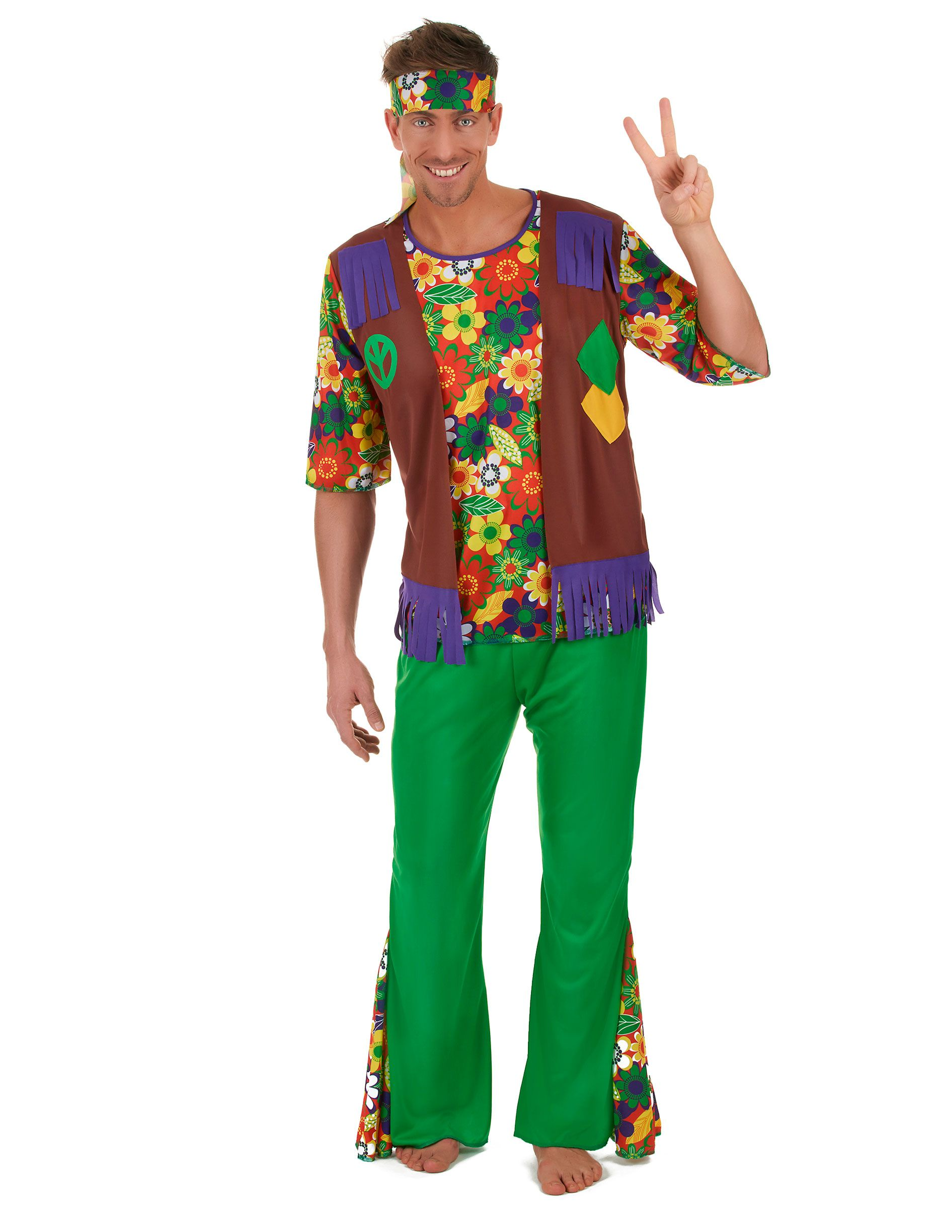 Disfraz hippie flower power hombre  Este disfraz de hippie para adulto  incluye camiseta b727d0c7dfe6