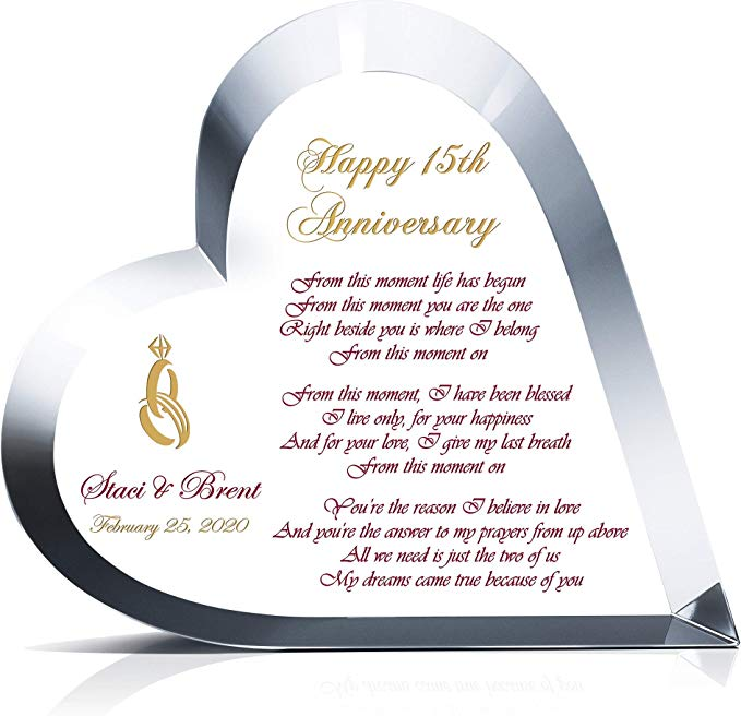 Personalized Heart Shape Crystal Gift for 15th