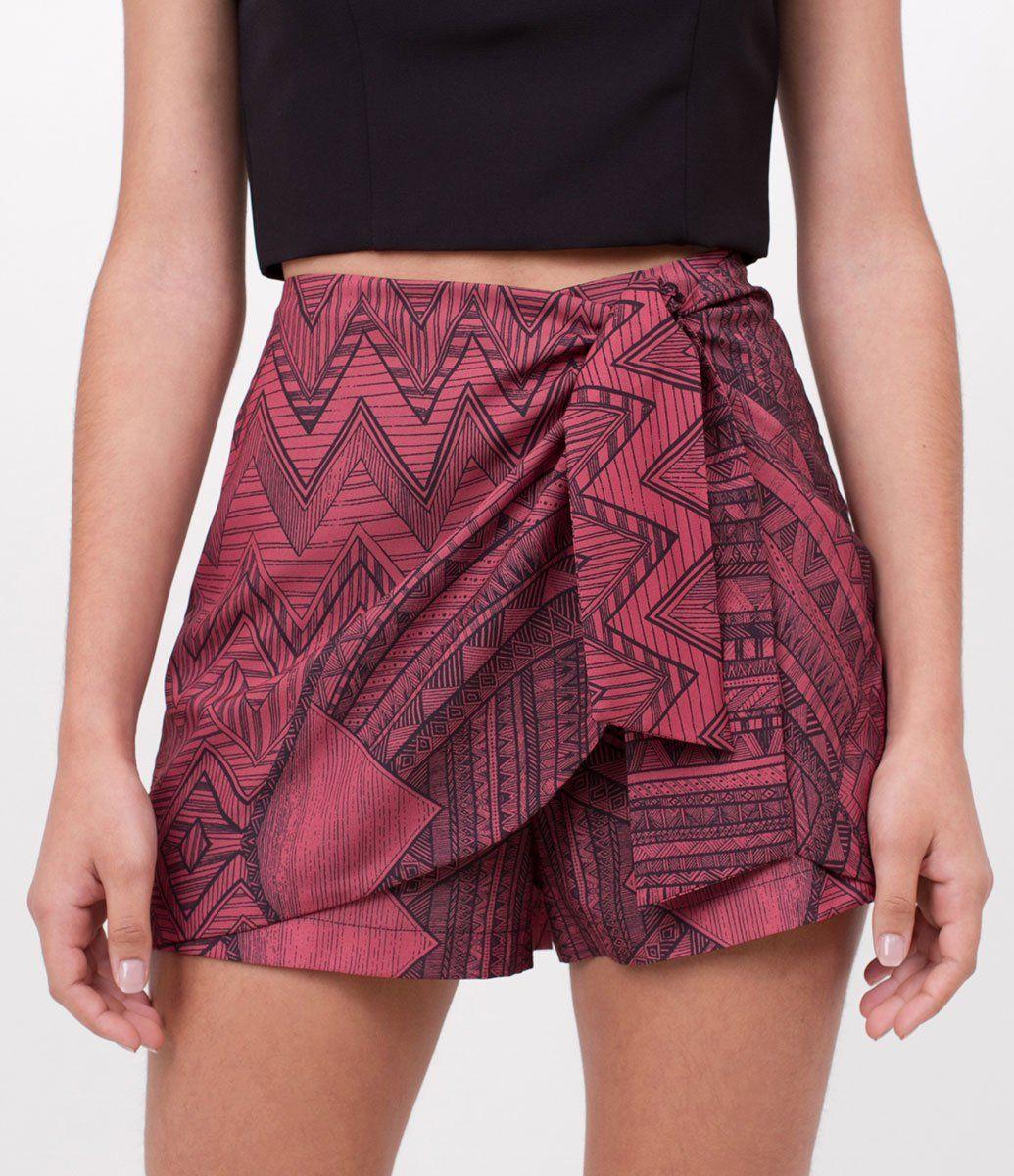 f0478b2acb Short feminino Modelo saia Com amarração Estampada Marca  Just Be Tecido   Crepe Composição