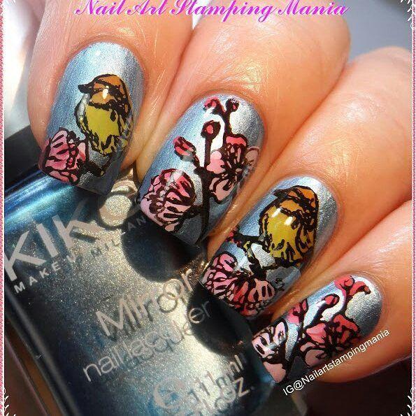 Nail Art By Nailartstampingmania Used Clear Stamper Cone Head And Ciciandsisi Layered Plate Flower 04 The More O Nail Art Inspiration Nail Art Nail Designs
